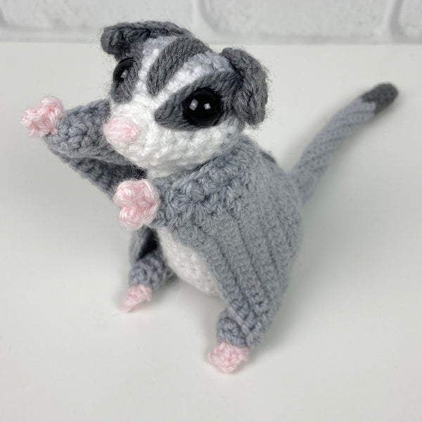 Sassy the Sugar Glider Amigurumi (Standard White Faced Grey)
