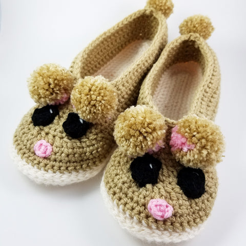 Rad Rodent Adult Size Slippers Crochet Pattern