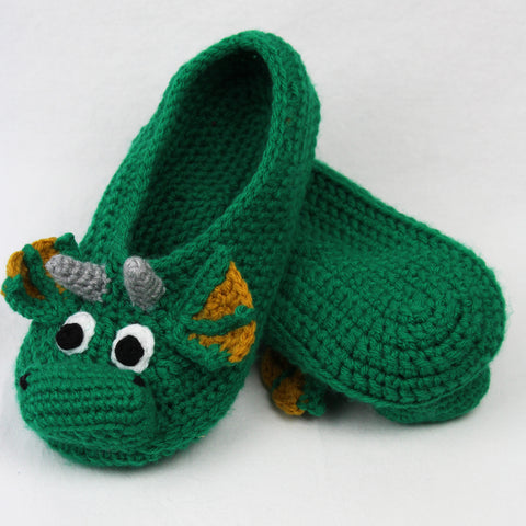 Draco the Dragon Adult Size Slippers Crochet Pattern