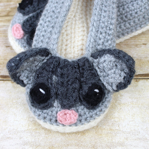 Sassy the Sugar Glider Adult Size Slippers Crochet Pattern