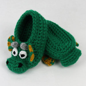 Draco the Dragon Child Size Slipper Crochet Pattern