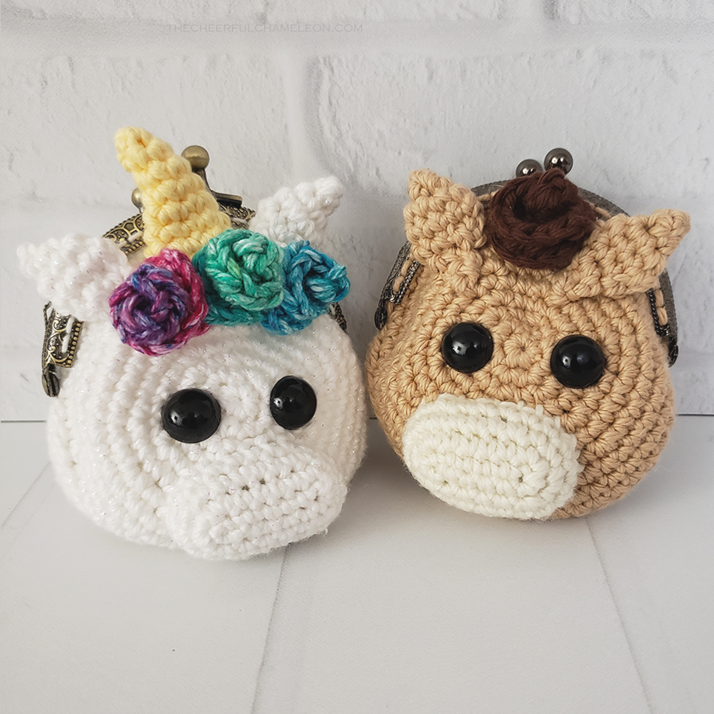 Sugar the Unicorn & Spice the Horse Coin Purse Crochet Pattern