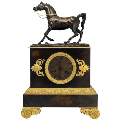 French Empire Bronze Clock