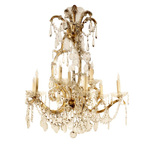 Nine Light Marie-Therese Style Crystal and Bronze Chandelier