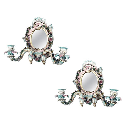 Pair of Antique Meissen Two-Light Mirrored Girandole Sconces