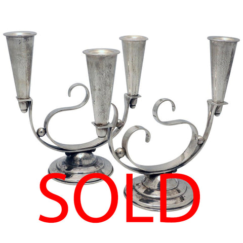 Pair of Petersen Sterling Mid-Century Modern Two-Light Candelabra