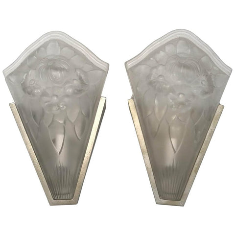 Pair of Mid-Century Modern Frosted and Aluminium Finished Wall Sconces