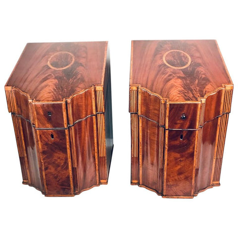 Pair of George 111 Inlaid Mahogany Knife Boxes