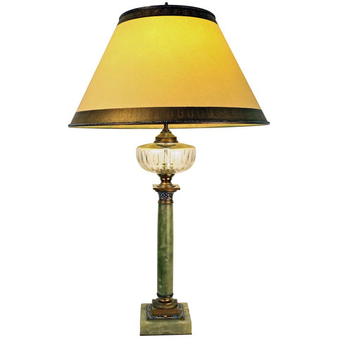 French Onyx and Cloisonne Banquet Lamp