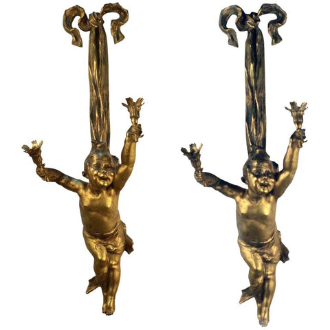 Pair of Louis XV Style Two-Light Wall Sconces Modelled as Children