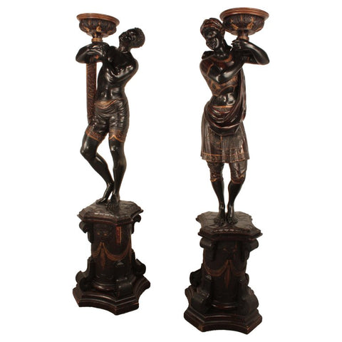 Pair of Ebonized Blackamoors on Pedestals