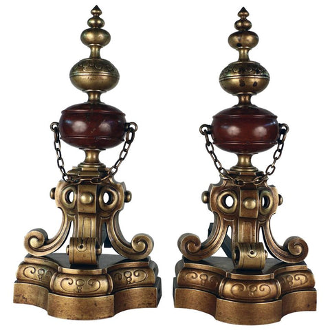 Pair of French 19th Century Louis XIV Style Bronze and Marble Chenets / Andirons