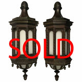 Imposing Pair of Bronze Wall-Mounted Exterior Lanterns