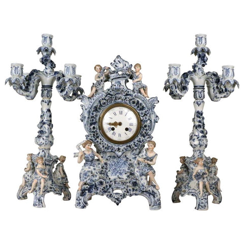 Antique German Three Piece Porcelain Clock Garniture