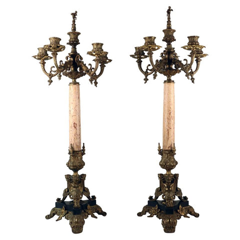Pair of Neo-Renaissance Bronze and Marble Five Arm Candelabra