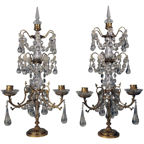 Pair of Louis XVI Style Gilt Bronze and Lead Crystal Three Light Girandoles