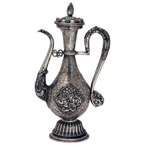 Antique Tibetan Silver Ceremonial Ewer