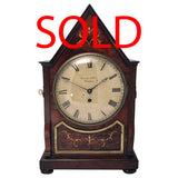 British/Canadian Eight Day Mantel Timepiece in Mahogany and Cut-Brass Case