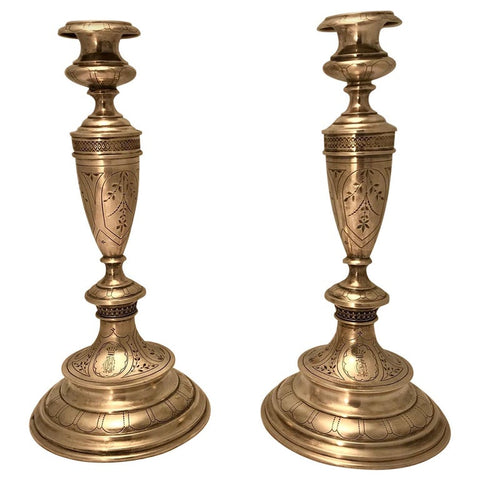 Pair of Austro-Hungarian Silver Sabbath Candlesticks