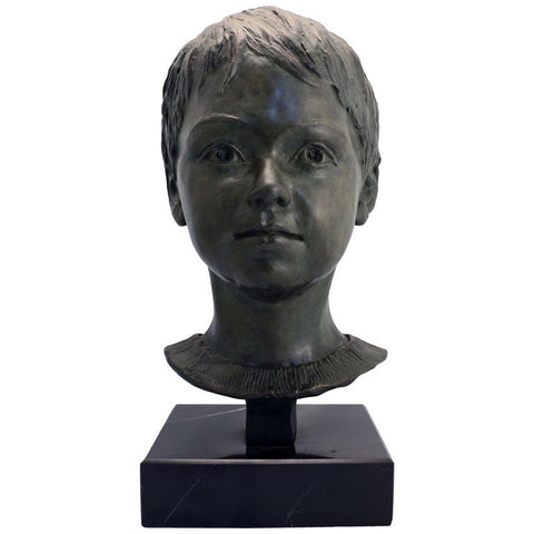 Lillian Katznelson Head of a Young Boy Bronze on Marble Base