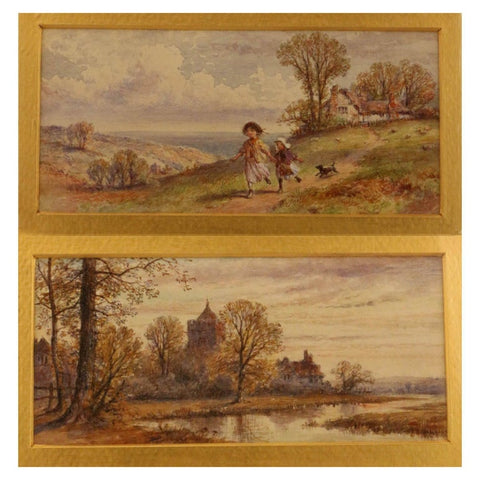 Pair of English Watercolors, Country Scenes