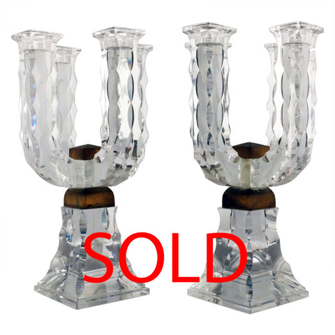 Pair of Baccarat Art Deco Lead Crystal Four Light Candelabra