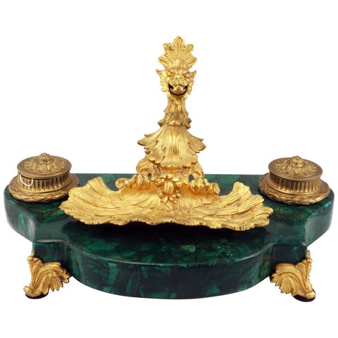 French Louis XV1 Style Malachite and Gilt Bronze Pen Tray