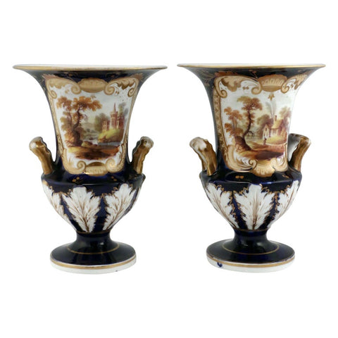 Pair of English Antique Porcelain Urns