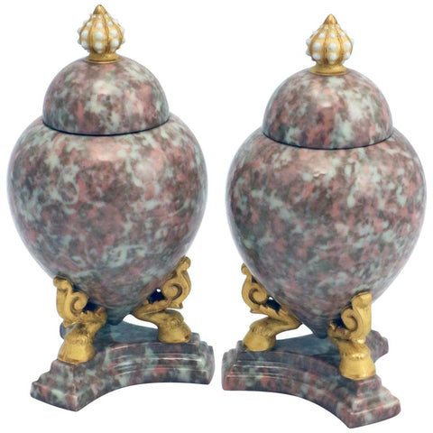 Pair of Grainger Worcester Covered Urns