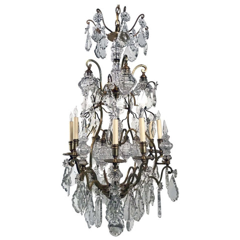 Belle Epoque Louis XV Style Eight Arm Bronze Chandelier