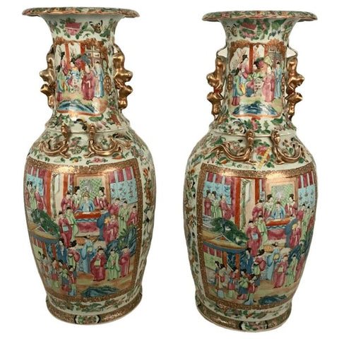 Large Pair of Antique Canton Baluster Vases