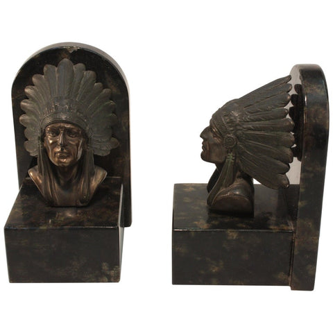Pair of Art Deco Bookends in Bronze and Marble, Modelled with Chieftains