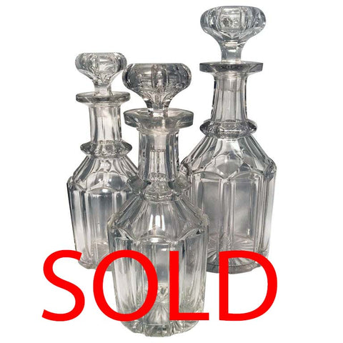 Set of Three Victorian Crystal Decanters