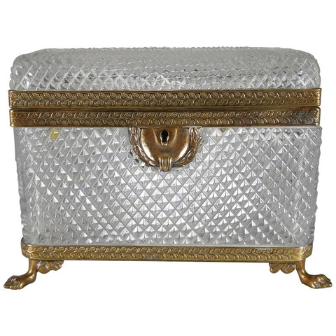 Antique French Cut Lead Crystal Casket