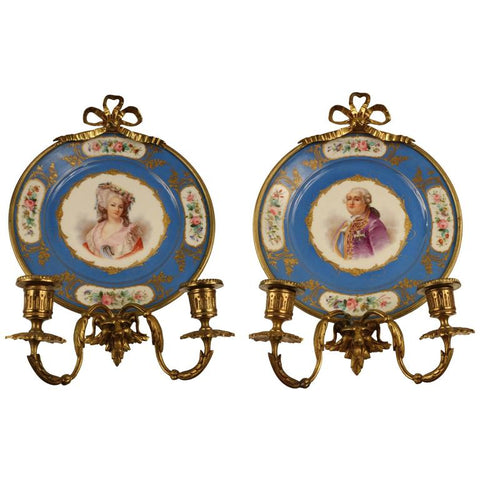 Pair of Antique Sevres Cabinet Plates Mounted as Wall Sconces