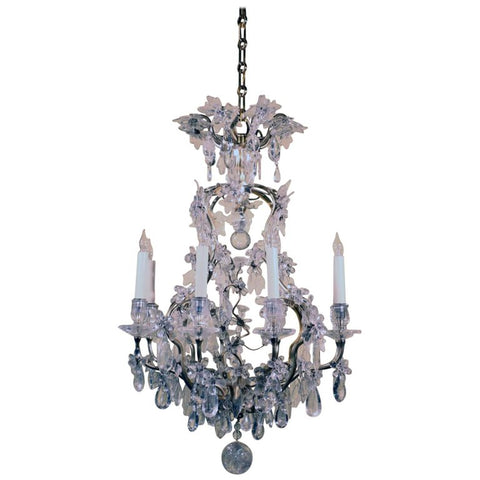 Baguès Louis XV Style Rock Crystal and Gilt Bronze Chandelier