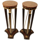 Pair of Italian Empire Style Faux Wood and Marble Pedestal Stands