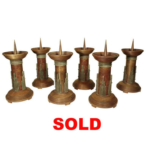 Set of Six Art Deco Bronze Candlesticks