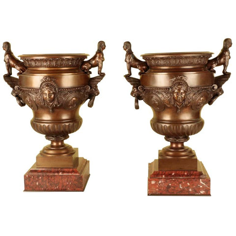 Pair of 19th Century Napoleon III Bronze Urns