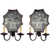 Pair of Etched Mirror Back Wall Sconces