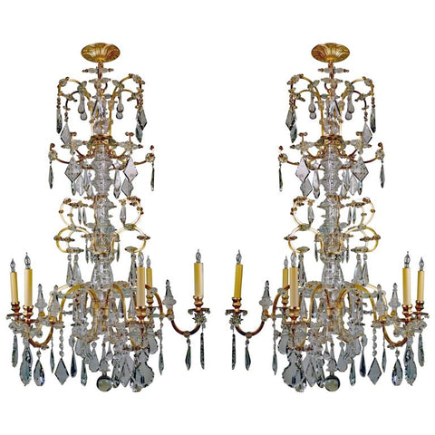 Rare Pair of Large French 19th Century Chandeliers