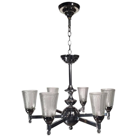 Nickle Plated Art Deco Six-Light Chandelier