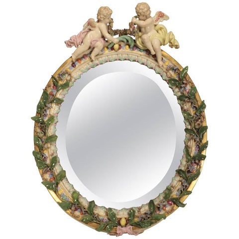Nineteenth Century Meissen Table Mirror