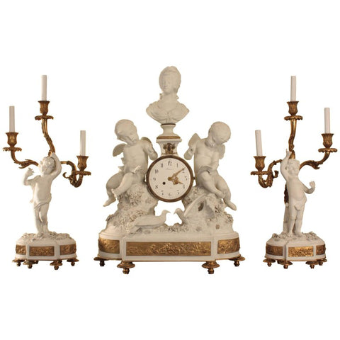 Fine and Large Sèvres Bisque Clock Garniture De Cheminée