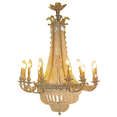 Louis XVI Style Bronze and Crystal Chandelier