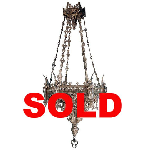 French Neo-Gothic Silvered Bronze Hanging Fixture