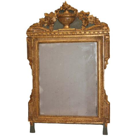 Louis XVI Period Carved Parcel Giltwood Mirror