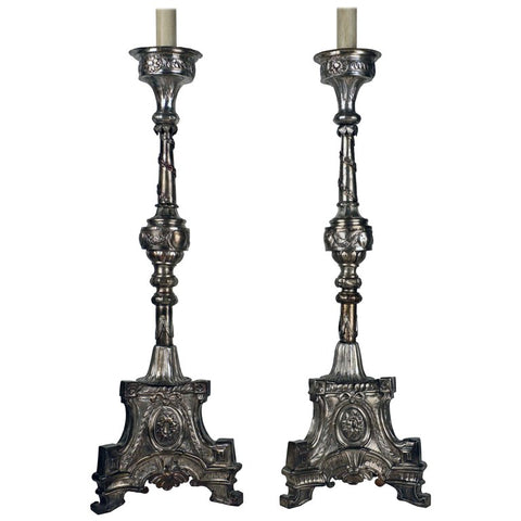 Pair of Large Late 18th Century Plated Neoclassical Candlesticks