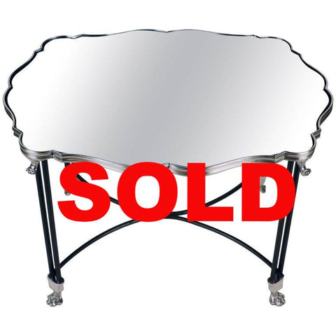 French Mirrored Surtout de Table Now Mounted as a Low Table