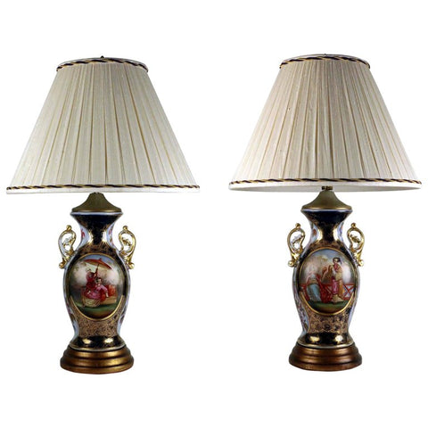 Pair of Antique German Porcelain Chinoiserie Baluster Vases, Fitted as Lamps